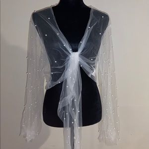Sheer cover up with pearls